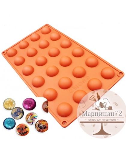 Форма для выпечки и шоколада полусфера, размер ячейки d 2,5 см.