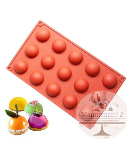 Форма для выпечки и шоколада полусфера 15 ячеек d - 3,5см.