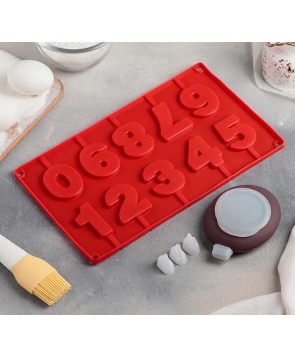 """Набор для выпечки 5 пр """"Цифры"""": форма, емкость для крема, 3 насадки 2х1 см"""