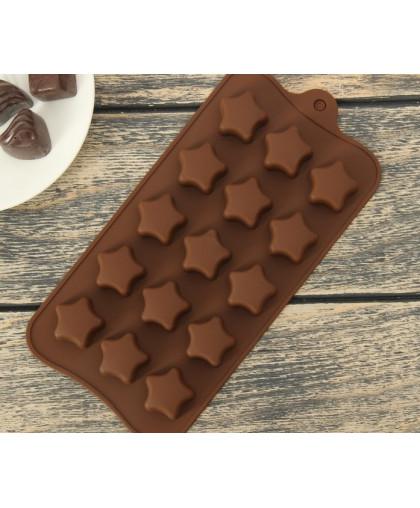 "Форма для льда и шоколада, 15 ячеек, 21х10 см ""Звездочки"""