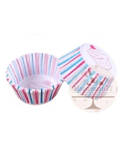 Набор бумажных форм для кексов, диаметр 6,8 см  100 шт Синяя и красная полоска