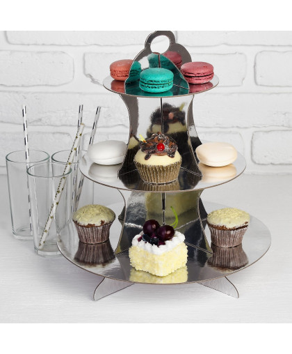 Подставка для пирожных «Нежность», цвет серебряный