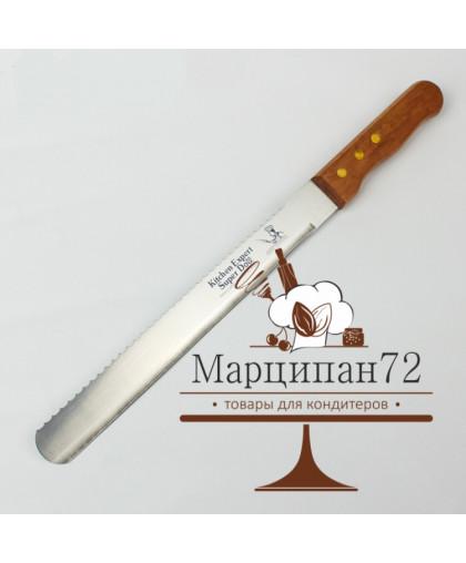 Нож для бисквита двусторонний с крупными зубцами и ровным краем, лезвие 25 см.