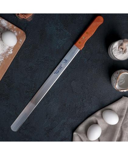Нож для бисквита ровный край 36 см, ручка дерево
