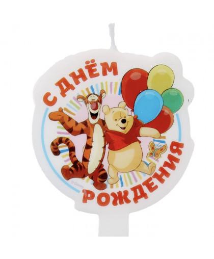 """Свеча в торт Дисней """"С днем рождения"""" Медвежонок Винни."""