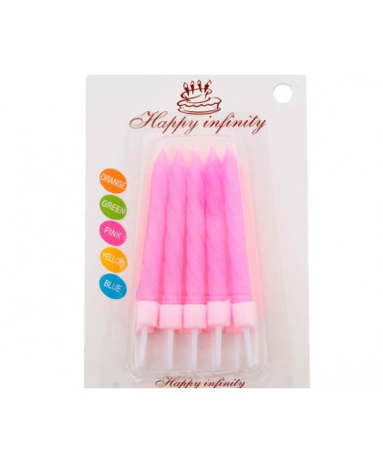 """Набор свечей для торта """"С Днём Рождения"""", неоновые, розовые, 10 шт"""