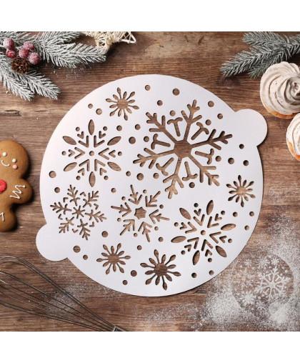 Трафарет для выпечки «Снежинки», 35,2 × 30 см