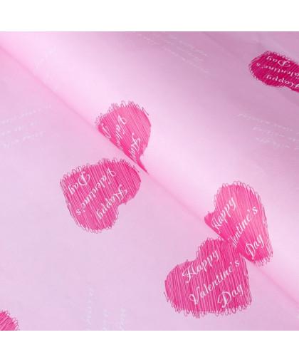 """Бумага упаковочная """"Happy Valentine's Day"""" 60х58 см."""