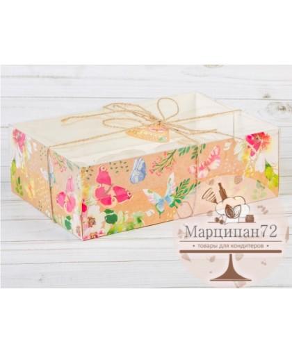 Коробка для капкейка с PVC-крышкой «Бабочки»