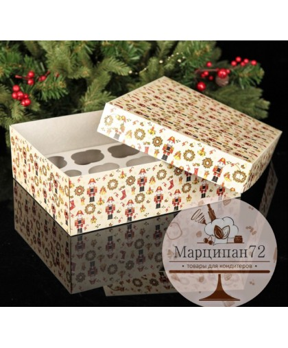"""Коробка картонная на 12 капкейков """"Щелкунчик"""", 32,5 х 25,5 х 10 см."""