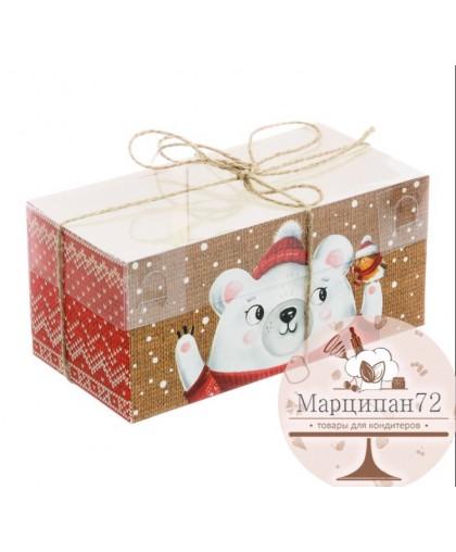 Коробка для двух капкейков «С Праздником!», 8 × 16 × 7,5 см.