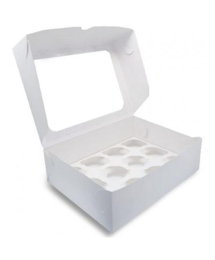 Коробка под 12 капкейков с окном 330х250х100 мм