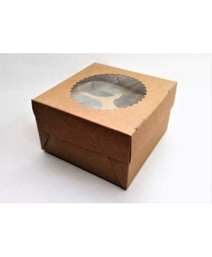 Коробка под 4 капкейка с окном (крафт)