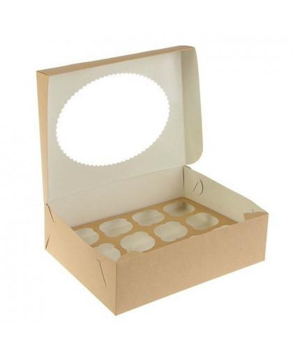 Коробка под 12 капкейков с окном (крафт)