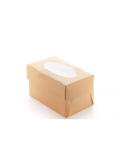 Коробка под 2 капкейка с окном (крафт)