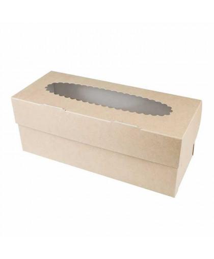 Коробка под 3 капкейка с окном (крафт)