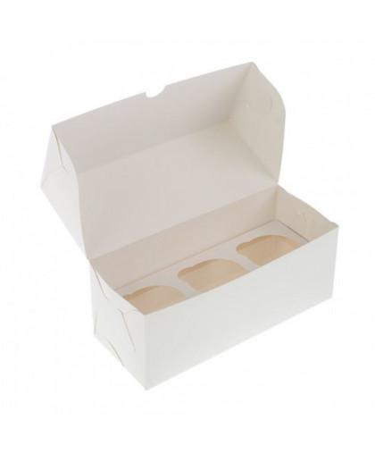 Коробка под 3 капкейка белая 250х100х100 мм