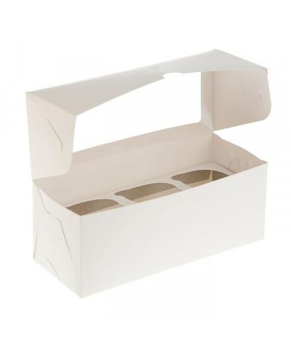 Коробка под 3 капкейка с окном 250х100х100 мм