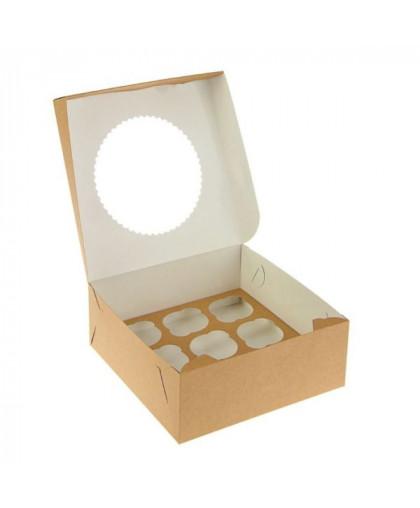 Коробка под 9 капкейков с окном (крафт)
