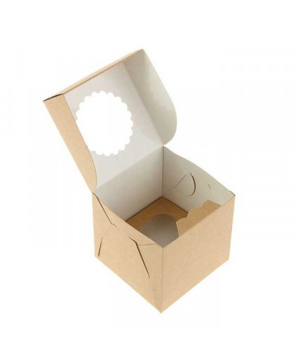 Коробка под 1 капкейк с окном (крафт)
