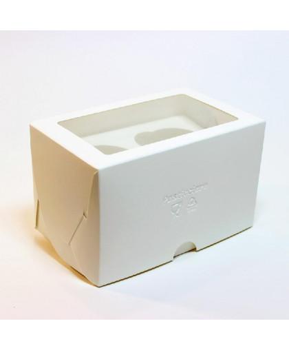 Коробка под 2 капкейка белая 100х160х100 мм с окном