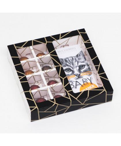 """Коробка под 8 конфет + шоколад, с окном, """"Геометрия"""", черно-белая, 17,7 х 17,85 х 3,85 см"""