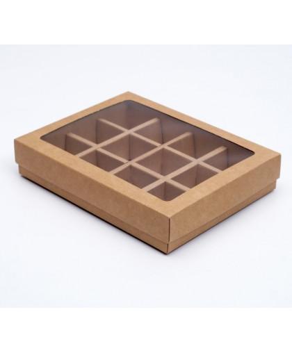 Коробка для конфет, 12 шт, крафт, 19 х 15 х 3,5 см