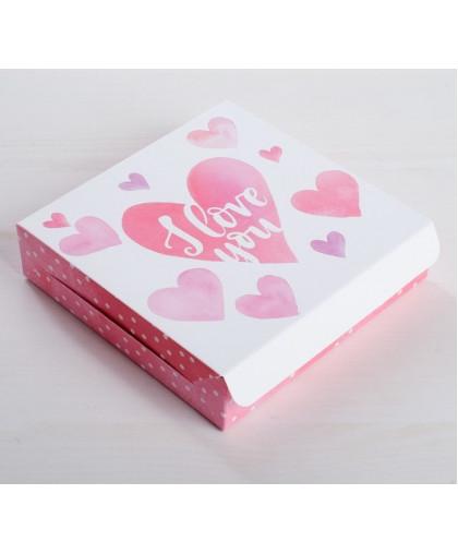 Коробка складная «Для любимых», 14 × 14 × 3,5 см