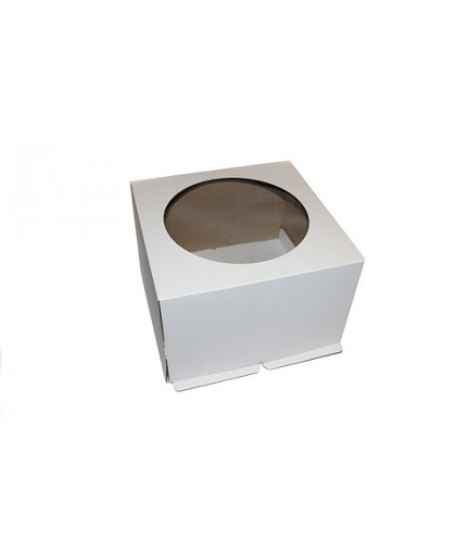 Короб картонный белый с окном 240х240х220 мм