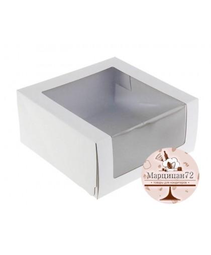 Кондитерская упаковка, короб с окном, 22,5 х 22,5 х 6 см.