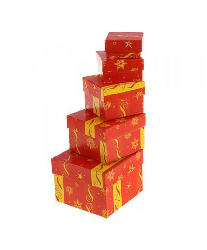 """Набор коробок 5 в 1 """"Красный зимний"""""""