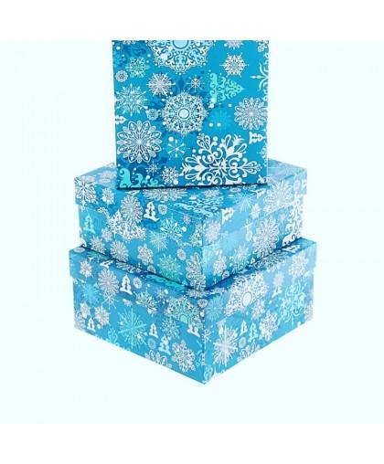 """Набор коробок 3в1 """"Снежинки на синем"""""""