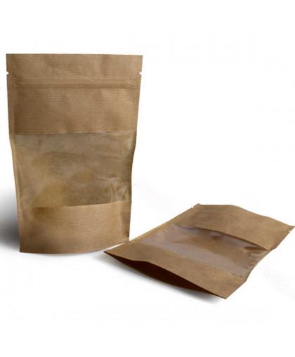 Пакет крафт с окном, прямоугольное дно 14 х 9 х 3 см.