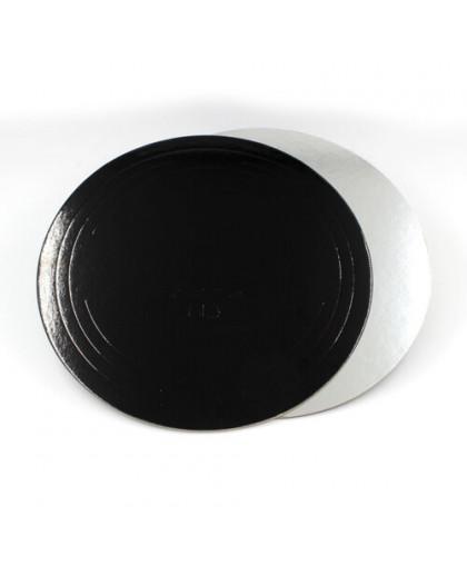 Подложка  усиленная, черная/серебро 24см, 1,5мм