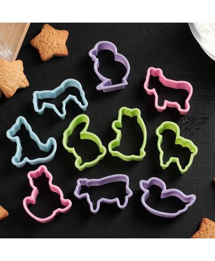 Набор форм для печенья «Зоопарк», 5,5×4,5×1,7 см, 10 шт, цвет МИКС