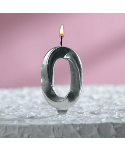 """Свеча в торт """"Грань"""", цифра """"0"""", серебряный металлик"""